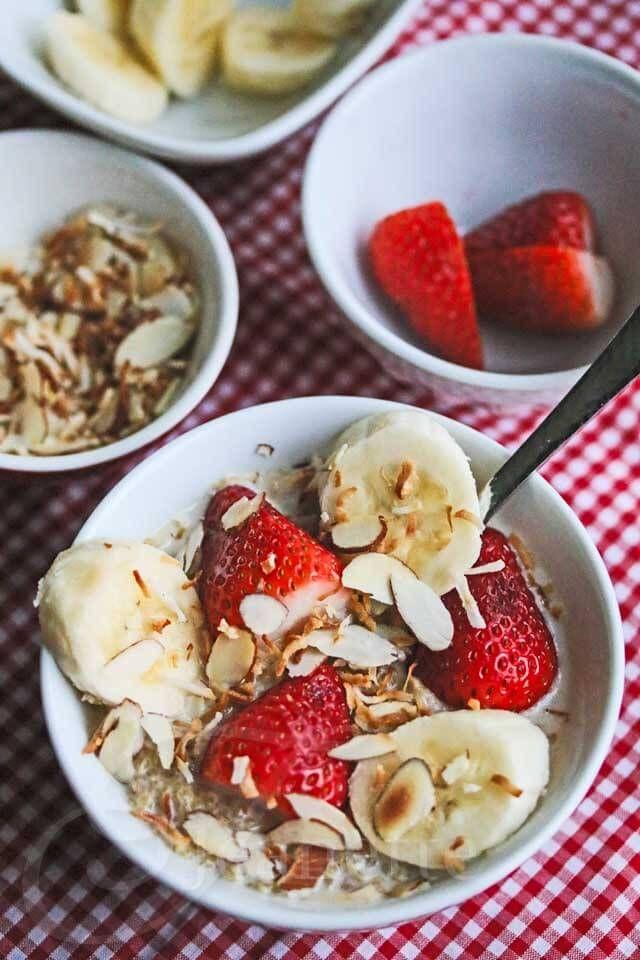 Breakfast Coconut Milk Quinoa with Fresh Fruit Recipe {Video} ~ http://jeanetteshealthyliving.com