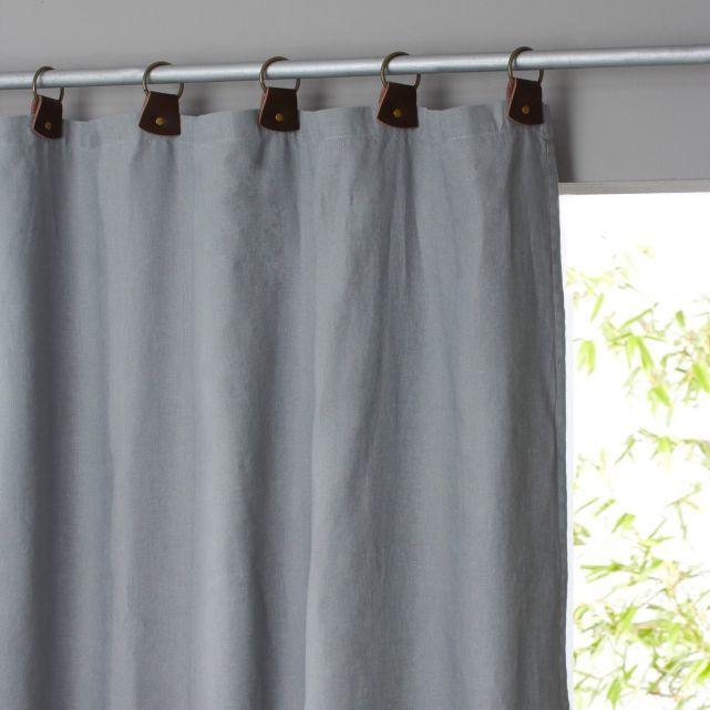 Rideau lin lav doubl passants cuir private rideau - Double rideau en lin ...