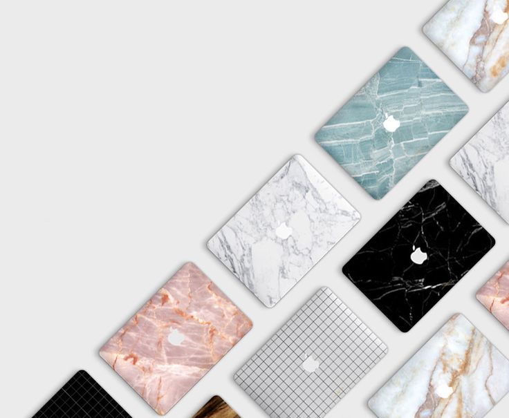 A collection of vinyl decals designed to adorn and protect Apple MacBook laptops with the look of tinted and monochromatic marble.