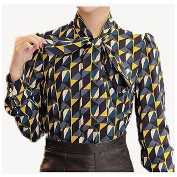 New Work Wear Office 2016 Shirt Women Tops Yellow Floral Bow Tie... ❤ liked on Polyvore featuring tops, blouses, flower print blouse, patterned shirts, yellow floral shirt, floral print blouse and geometric print shirt