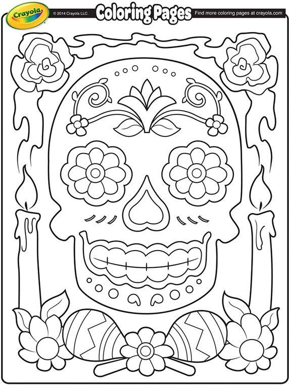 dia de los muertos skull coloring page template stencil sjabloon
