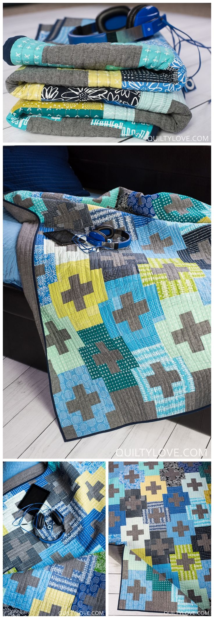 Plus and Minus Quilt Pattern by Emily of Quiltylove.com.  Easy plus   quilt for the modern quilter.  Beginner friendly plus quilt.  Fat   quarter friendly plus quilt.  Blueberry Park fabrics by Karen Lewis for   Robert Kaufman.  Essex linen quilt.  #plusquilt #modernquilt   #quiltpattern