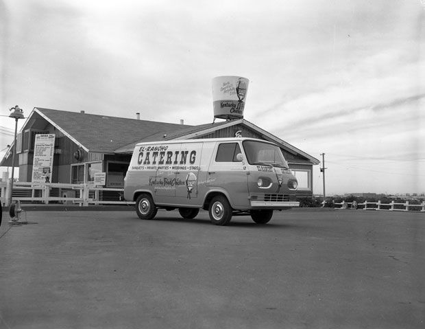 1964 - El-Rancho's Ford Econoline delivery van parked in front of the 2806 8th Street East location.