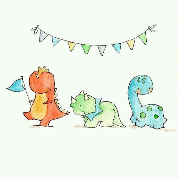 Party, watercolor, dinosaur