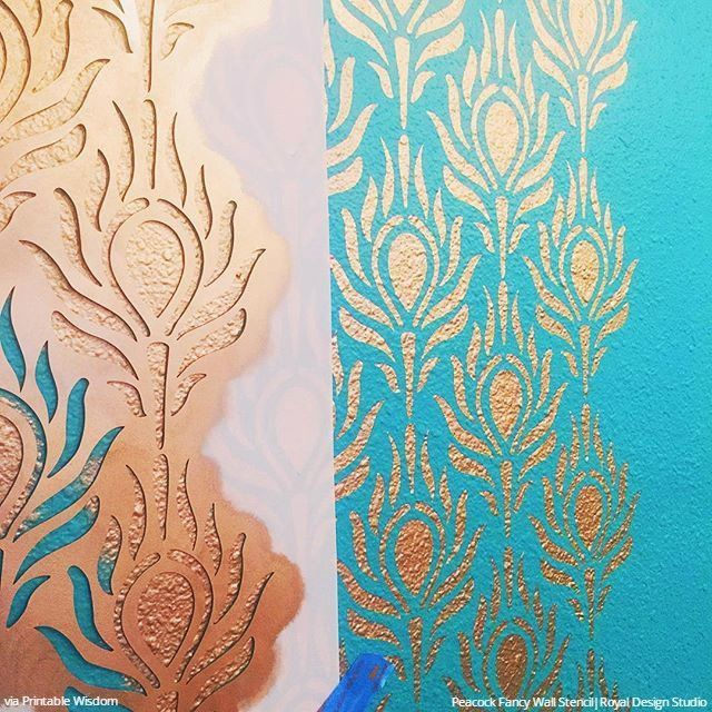 Metallic Gold And Teal Painted Peacock Feathers Wall Stencils Modern Diy Wallpaper Pattern Stencils