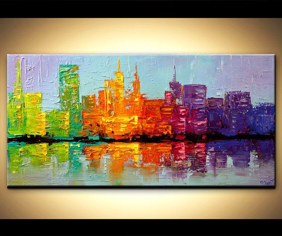 Modern palette knife abstract city painting NYC Art New York Skyline ORIGINAL Contemporary by OSNAT 48x24 via Etsy