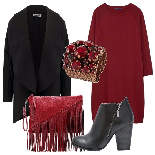 Outfit comodo, ma elegante da indossare tutti i giorni. Abbina abito in maglia rosso, maxi cappotto nero senza bottoni, pochette rossa con frange, stivaletti con tacco grosso neri e anello con pietre rosse.