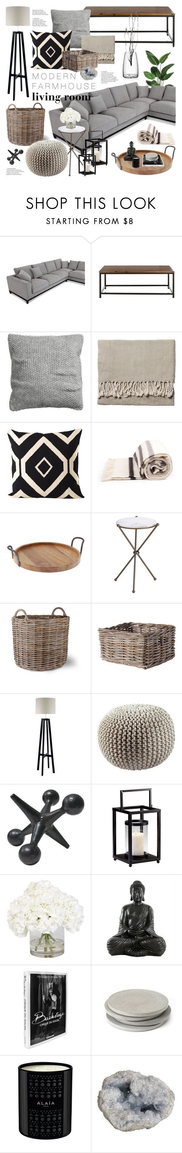 """Modern Farmhouse Living Room"" by emmy ❤️ liked on Polyvore featuring interior, interiors, interior design, home, home decor, interior decorating, H&M, Serena & Lily, Hudson's Bay Company and Thirstystone"