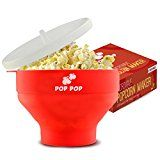 #10: Microwave Popcorn Maker  No Oil Needed  Easy to Cook Healthy Snack  Collapsible Silicone Popper with Lid and Handles  Red