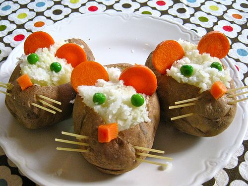 mice potatoes...scoop out a baked potato, mix with milk and cheese and stuff back into the potato, decorate with cooked carrots and peas (eyes, nose and ears) and thread spagetti through potato (whiskers)