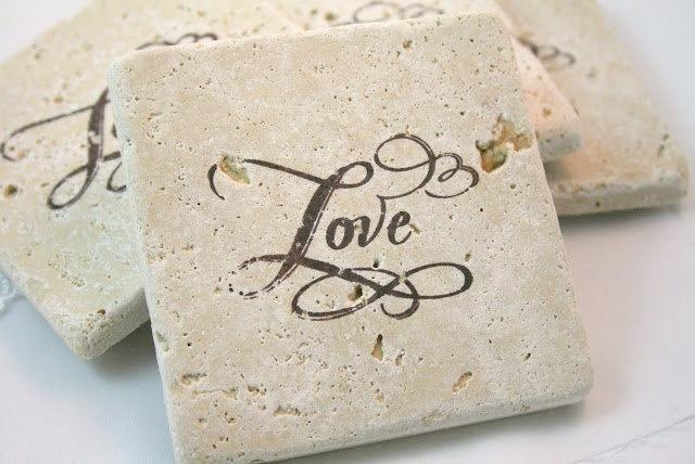 Tile Coasters Love Wedding Favor Tumbled Tile Vintage Inspired. $16.00, via Etsy.