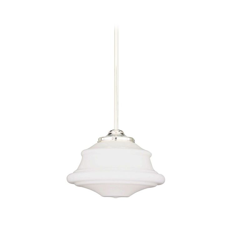 Schoolhouse Pendant Light with White Glass in Polished Nickel Finish | 3416-PN | Destination Lighting