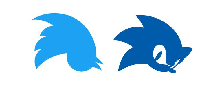The Twitter logo upside down looks like Sonic the Hedgehog.