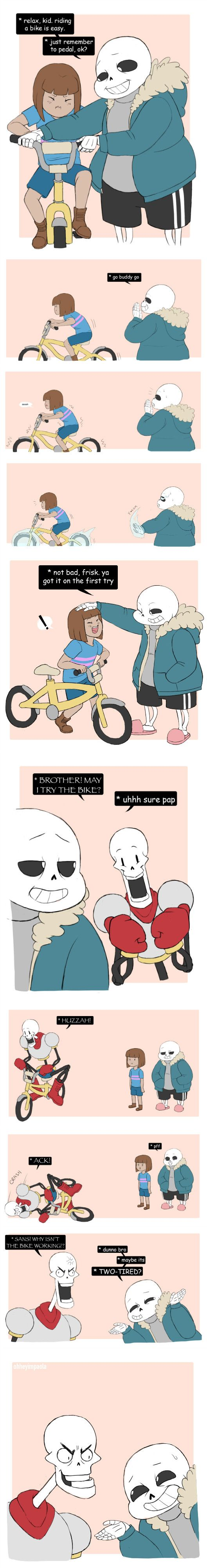 Sans, Frisk, and Papyrus - comic - http://ohheyimpaola.tumblr.com/post/133349439890/papyrus-is-getting-real-tired-of-your-shit-sans