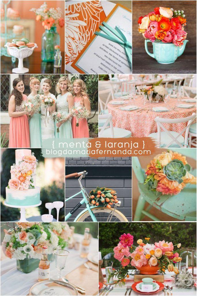 Decoração de Casamento Paleta de Cores Menta e Laranja   Blog de Casamento DIY da Maria Fernanda