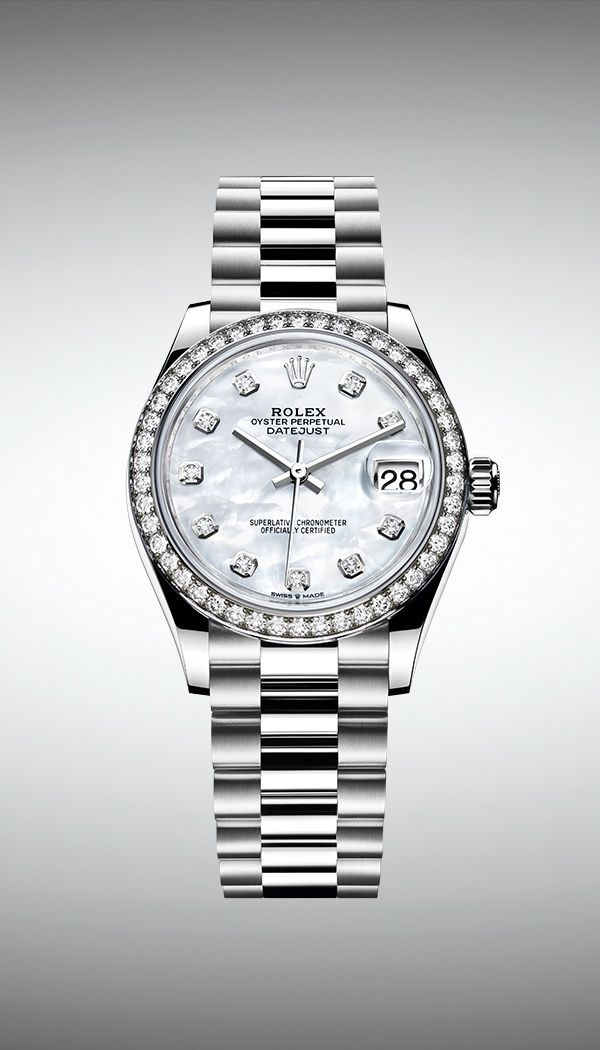 86adc106137 In 18ct white gold, the new Rolex Datejust 31 is fitted with a white mother -of-pearl dial and a diamond-set bezel.