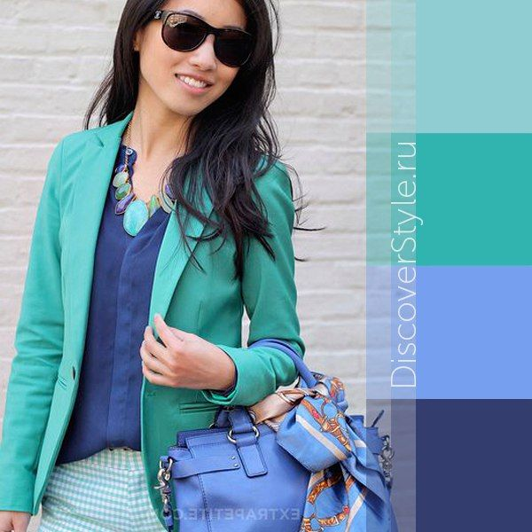 Mint green and blue