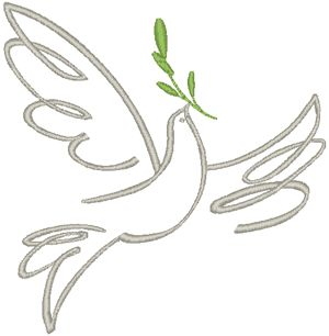 Ascending Dove with Olive Branch Embroidery Design (you can always flip, of course)