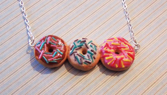 Iced Donut Necklace, Kawaii Donut Necklace, Strawberry, Chocolate, Vanilla Donuts, Donuts with Sprinkles, Donut Jewelry