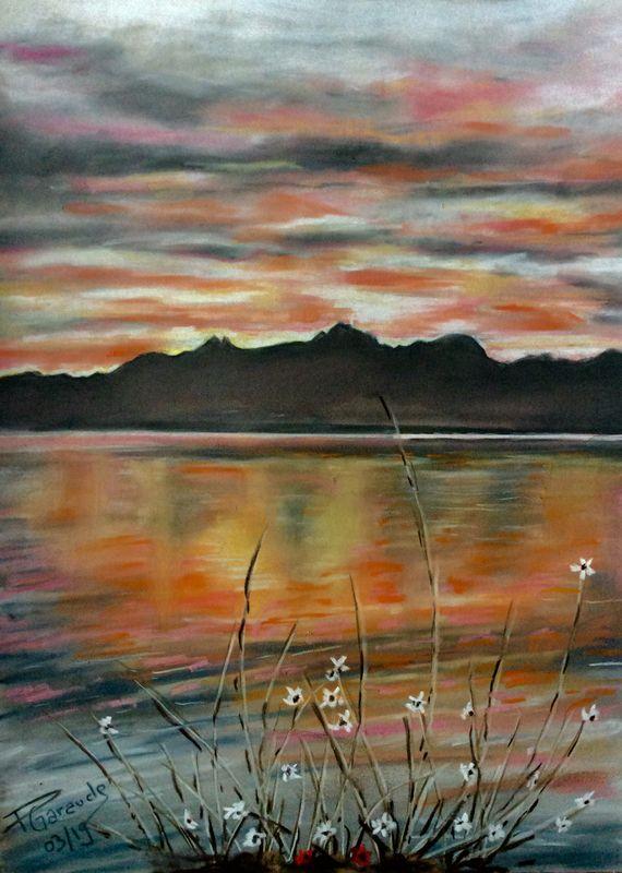 Lever De Soleil Sur Le Lac Leman Mes Pastels Et Aquarelles