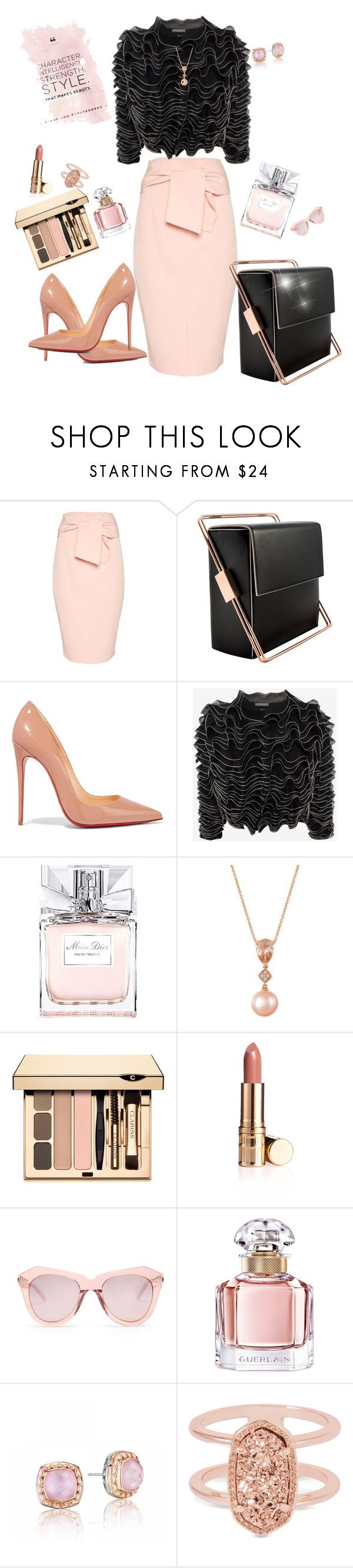 Peach rose and elegant black color by Diva of Cake featuring mode, Alexander McQueen, Topshop, Christian Louboutin, Lautēm, Tacori, Kendra Scott, LE VIAN, Karen Walker and Christian Dior