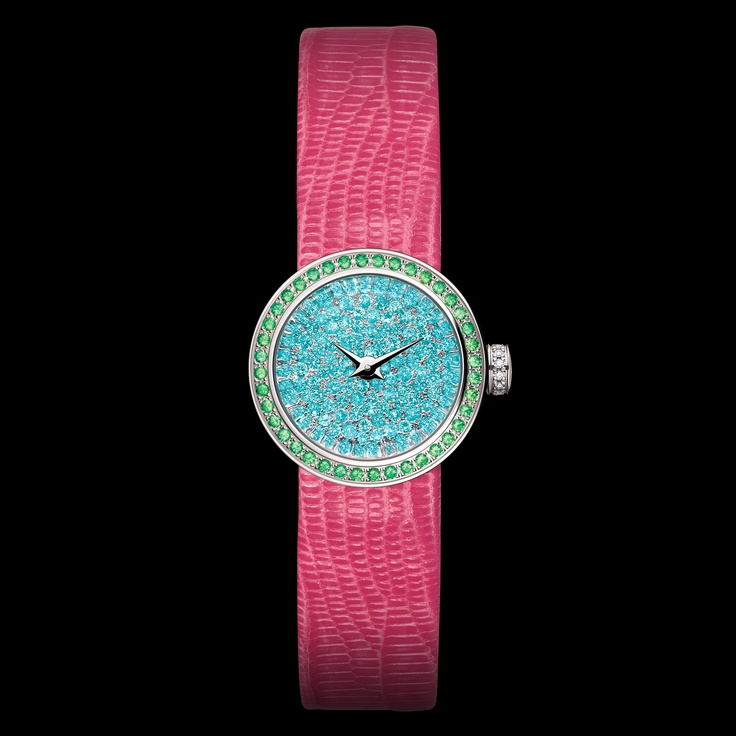 Dior Timepieces - Mini D in white gold case, dial in white gold set with Paraiba tourmalines, bezel in white gold set with tsavorite garnets, crown and buckle in white gold set with diamonds, sapphire crystal, pink lizard strap. Discover more on www.dior.com