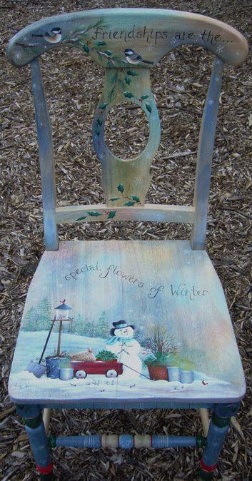 Cute Snowman Chair  http://www.distinctivebrushstrokes.com/Seasonal%20Chairs,%20Table%20Topper%20patterns.html