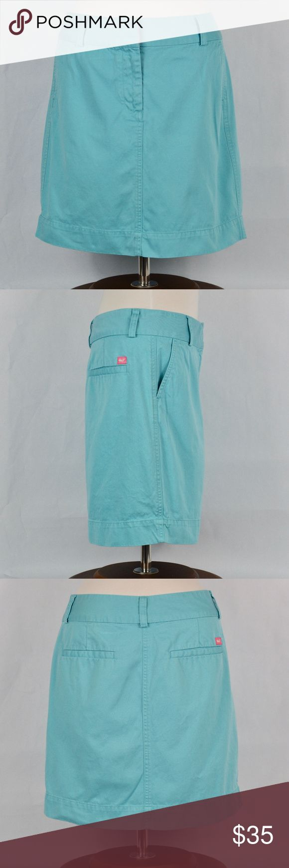 {Vineyard Vines} Blue Mini Skirt Wonderful for spring and summer!! This beautifully classic light blue cotton skirt has a pink Vineyard Vines whale embroidered logo. Perfect paired with shirts tucked in or out. Skirt has pockets. It is in excellent condition with no damage, marks, or repairs.   *170908_52_0348y Vineyard Vines Skirts Mini