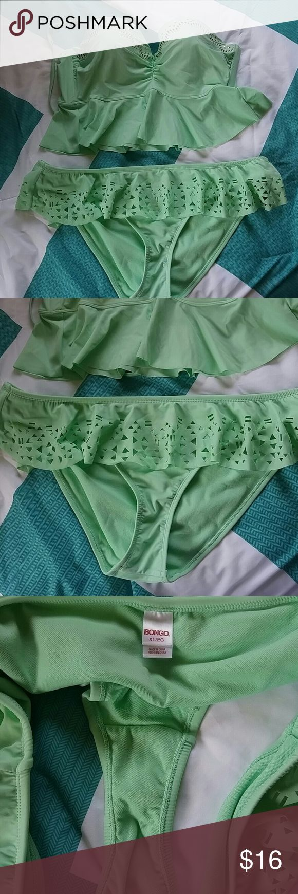 Bongo size XL mint green bikini Size XL Bongo brand bikini. Hard cup bikini top ties around the neck period ruffle detailing at the bottom where it's a little wider great detailing around the top. Ruffle on the bottom of the bikinis with cut-out design. The color is a mint bluish-green period no holes no tears no stains only worn twice ready to sell no trades no low-ball offers BONGO Swim Bikinis
