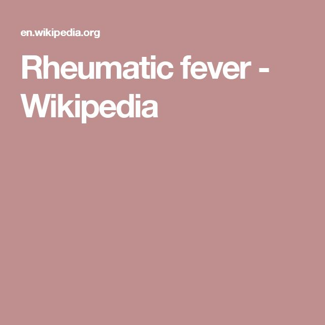 Rheumatic fever - Wikipedia