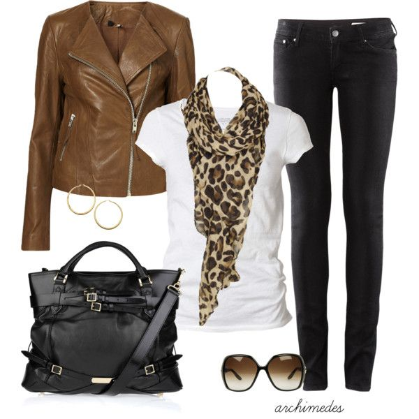 """""""Safari"""" by archimedes16 on Polyvore: Brown Jackets Outfit, Dreams Closet, Leopards Scarfs, Leather Jackets, Leopards Prints, Animal Prints, Fall Outfit, Black Jeans, Black Pants"""