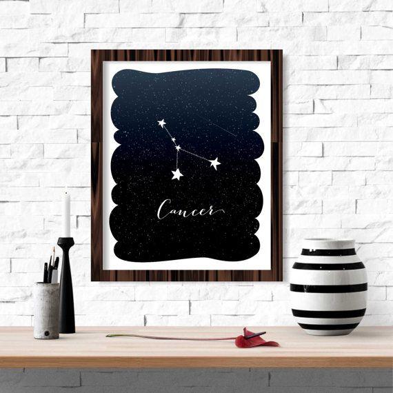 Cancer Zodiac Constellation Wall Art Printable by FebruaryLane