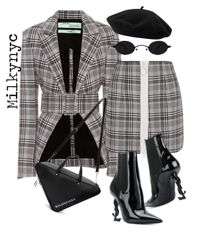 """""""Untitled #1036"""" by milkynyc ❤ liked on Polyvore featuring Off-White, Balenciaga, Yves Saint Laurent and Goorin"""