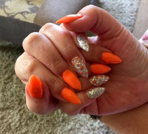 Gorgeous orange & silver acrylics with encapsulated beads