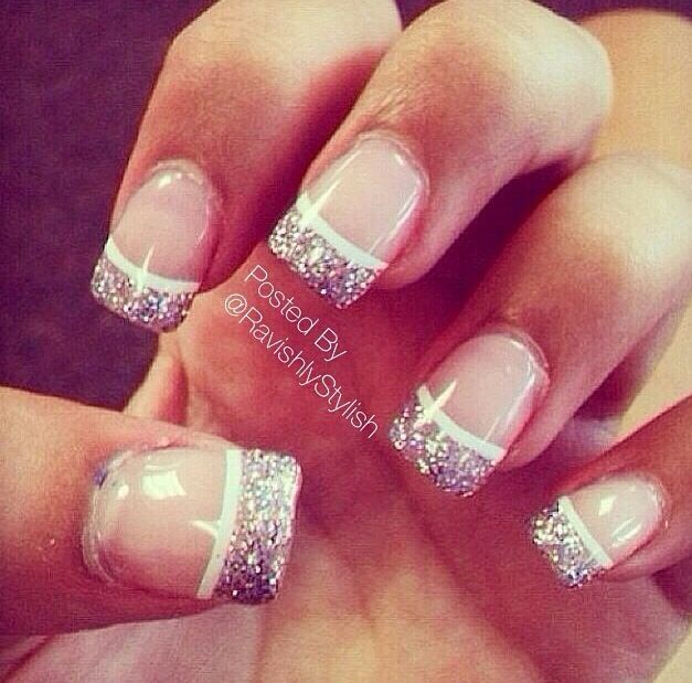 best 25 sparkly french tips ideas on pinterest sparkly