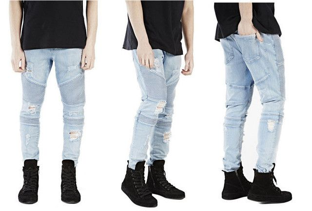 Plus Size represent clothing designer pants blue/black destroyed mens slim denim straight biker skinny jeans men ripped jeans