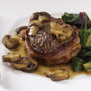 Bacon-Wrapped Filets with Scotched Mushrooms