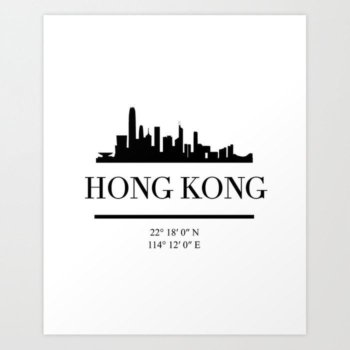 Hong Kong China Black Silhouette Skyline Art With Images Skyline Art Hong Kong Art Hong Kong