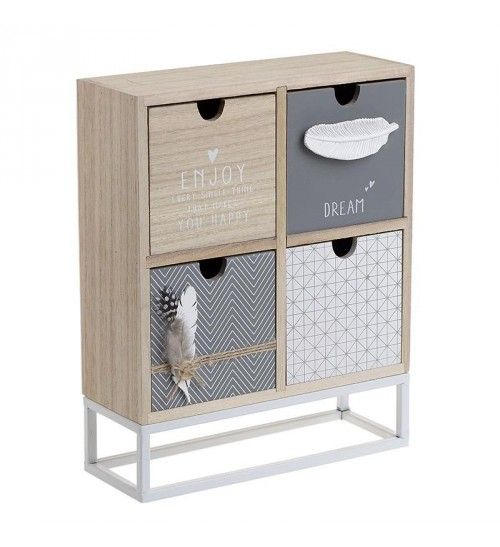 WOODEN BOX 'DRAWER' IN CREME_GREY COLOR24X9X30