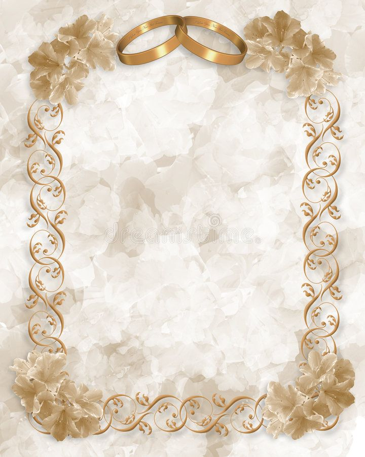 Wedding Invite Borders: Wedding Invitation Gold Rings Floral. Photo About Flower
