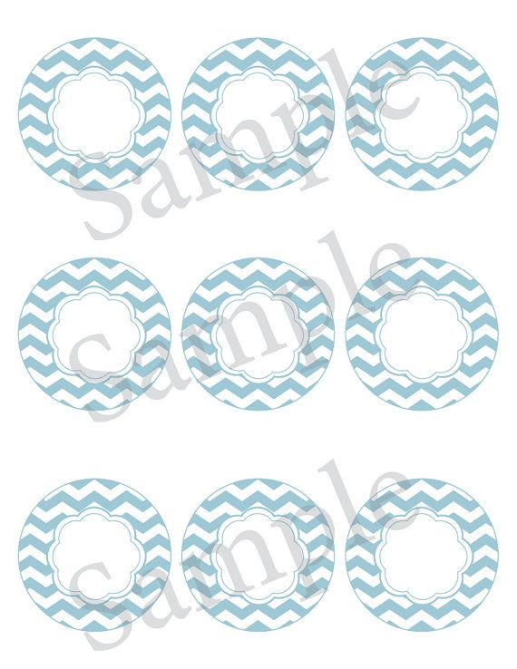 Printable editable chevron label Blue by LuckyYouPrintables