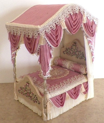 Custom order dollhouse bed....Over the top!