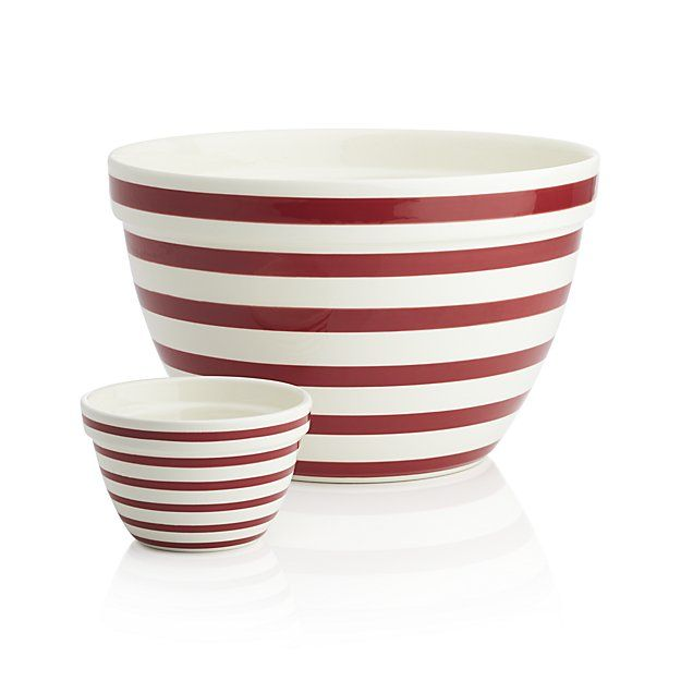 Shop Red and White Striped Bowls.  Classic red and white stripes ring this cheerful high-fired earthenware bowl with a deep, tapered shape and broad rim for mixing, prep and serving.