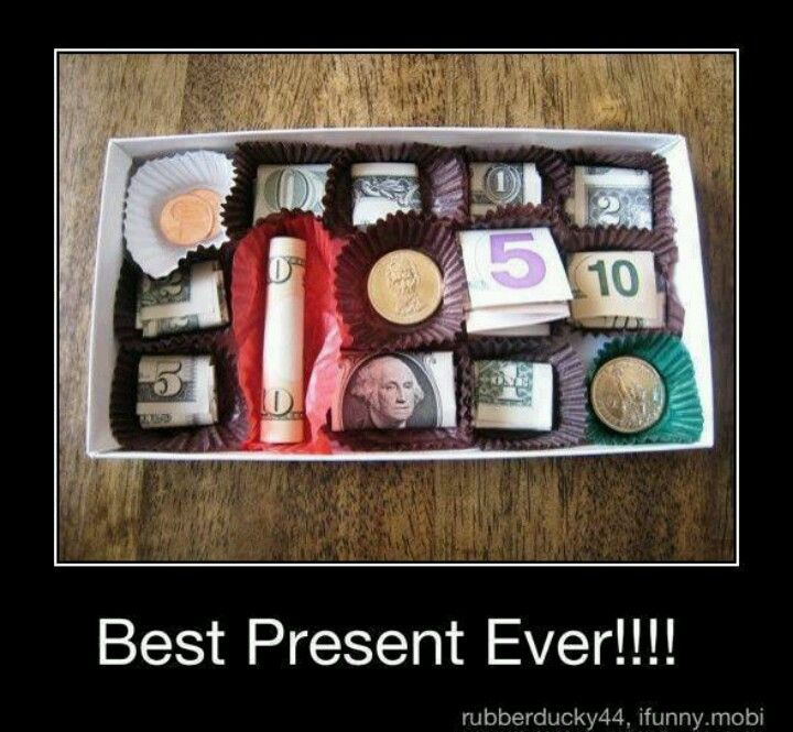 Gift idea for small person.   Wouldn't even gave to be 5s or 10s.  And you could intermingle wrapped candies as well