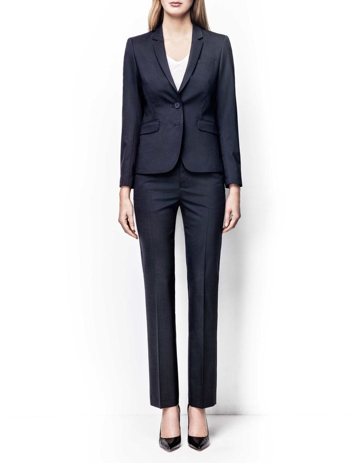 Emika blazer - Women's midnight blue blazer in wool-stretch. Fully lined with two-button fastening. Features two front paspoil pockets. Semi-slim fit. For a complete suit look wear it with Yulia trousers