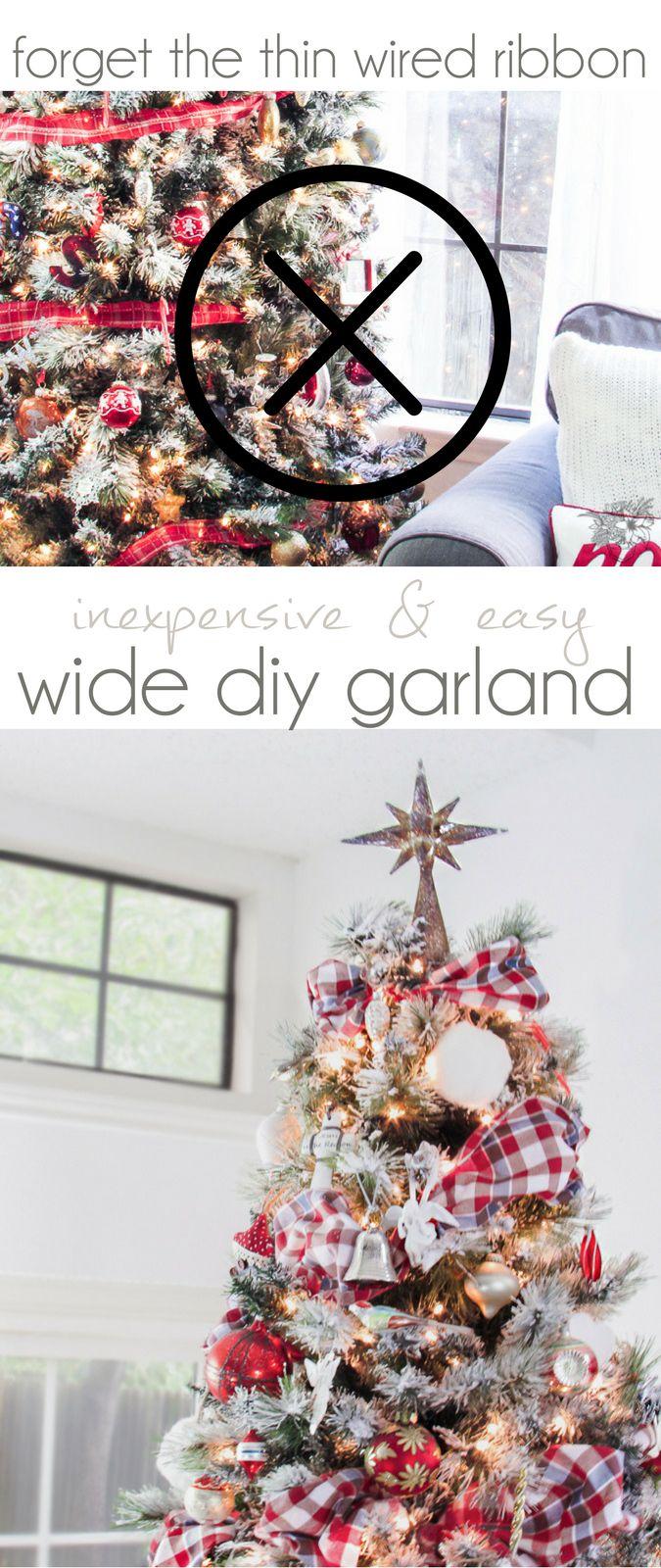 Christmas Tree Garlad, DIY Christmas Garland, Fast, Inexpensive and Easy DIY Fabric Garland