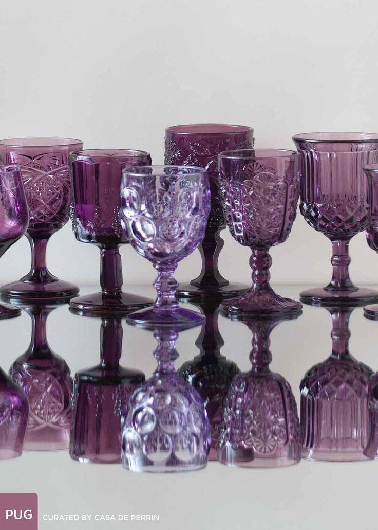 An assortment of purple glassware. Wine goblets. Casa de Perrin. Under catalog > glassware