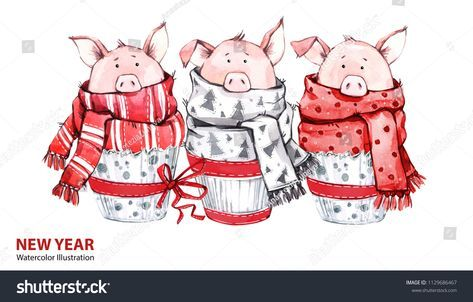 2019 happy new year illustration christmas border 3 cute pigs in winter scarves greeting watercolor cakes symbol of winter holidays zodiac sign