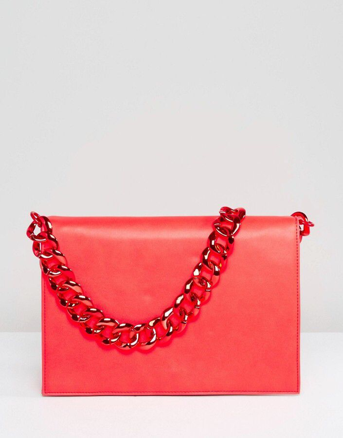 Plain Shoulder Bag with Chunky Chain - red