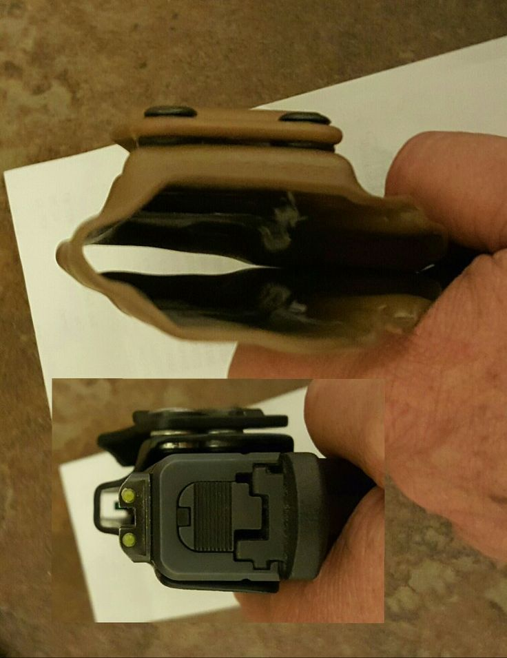 "Review of Triad Ares iwb kydex holster.  Notice the top of the ""black"" comparison holster is very uniform and nice looking, the Triad, umm... not so much. But the form & function of the holster overall is fine and the finish overall is good, just not what I expected for the price paid.."